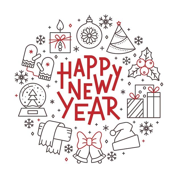 Carta del buon anno, bandiera rossa dell'iscrizione dell'icona della linea di vacanza invernale, nera. Vettore Premium