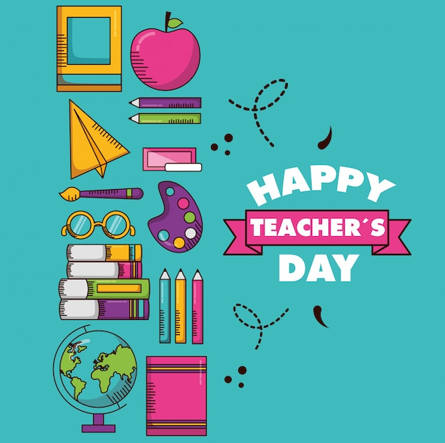 Carta del giorno degli insegnanti felici Vettore gratuito
