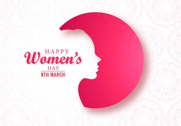 Carta del giorno delle donne del bello fronte femminile Vettore gratuito