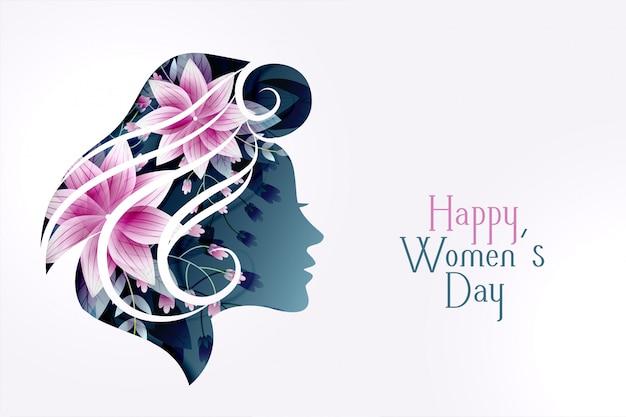 Carta del giorno delle donne felici con la faccia di fiore femminile Vettore gratuito