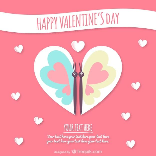 Carta del giorno di san valentino con la farfalla - Colore del giorno di san valentino ...