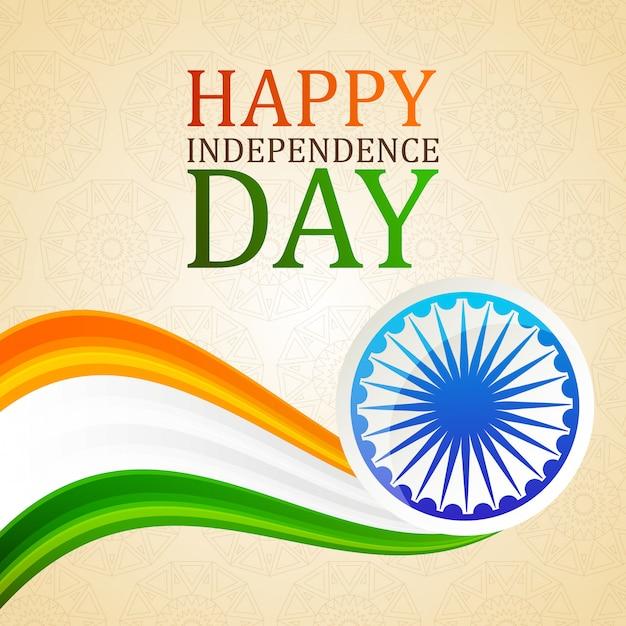 Carta dell'indipendenza dell'india felice Vettore Premium