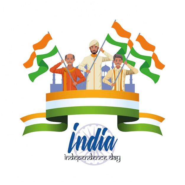 Carta dell'indipendenza dell'india Vettore gratuito