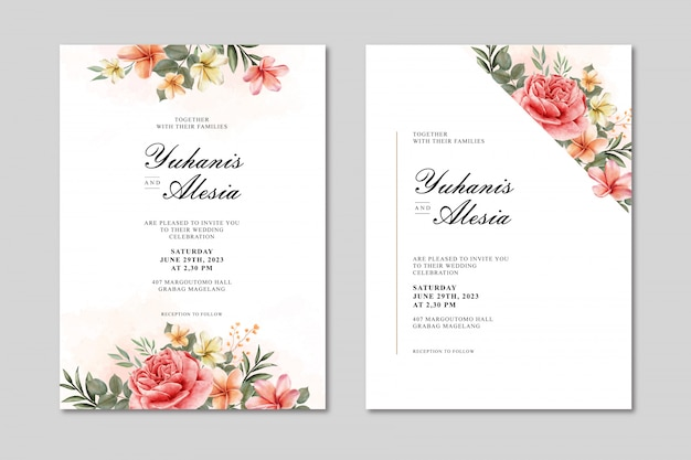 Carta dell'invito di nozze con i fiori e l'acquerello della foglia Vettore Premium