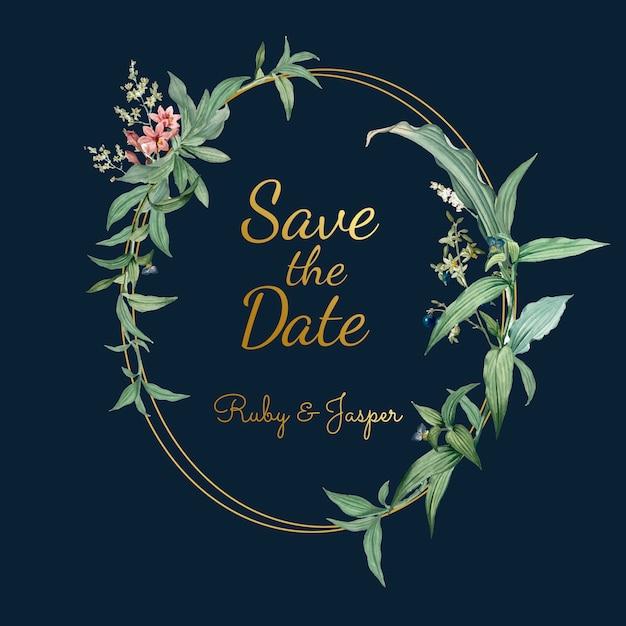 Carta dell'invito di nozze con il vettore delle foglie verdi Vettore gratuito