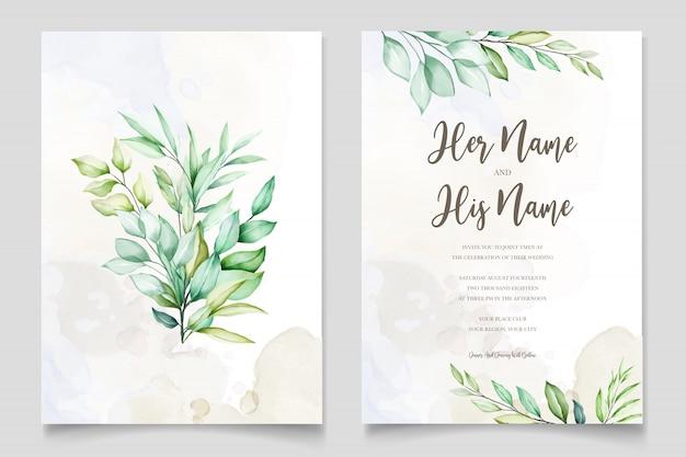 Carta dell'invito di nozze dell'acquerello in foglie verdi Vettore Premium