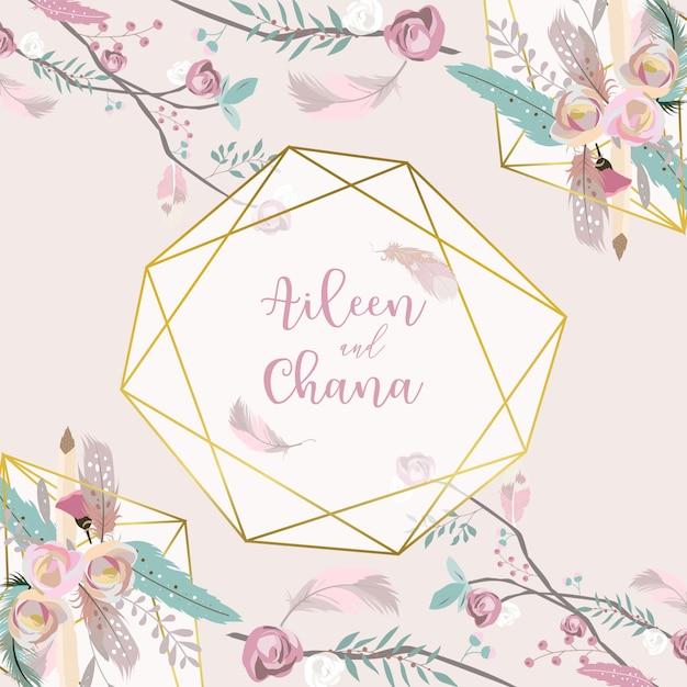 Carta dell'invito di nozze dell'oro della geometria di rosa con rosa Vettore Premium