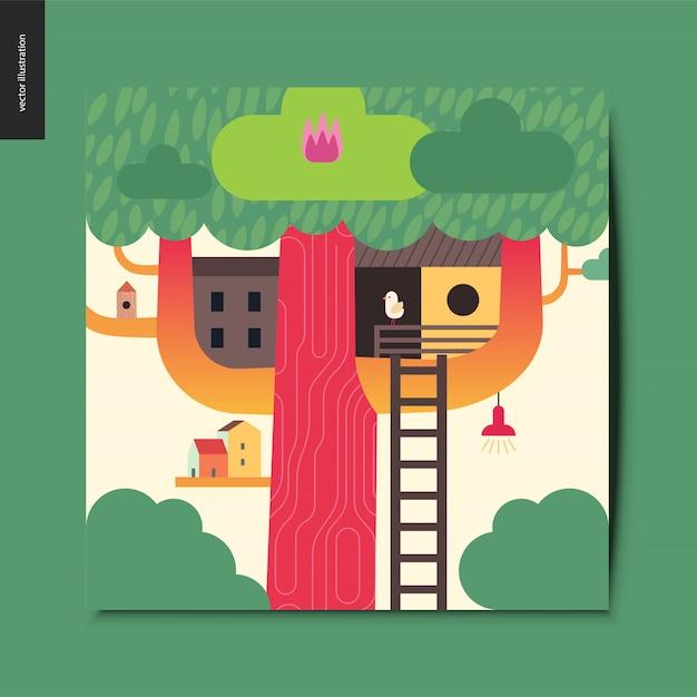 Carta della casa sull'albero Vettore Premium