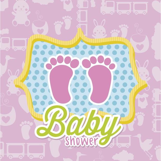 Carta della doccia di bambino sopra l'illustrazione rosa di vettore del fondo Vettore Premium