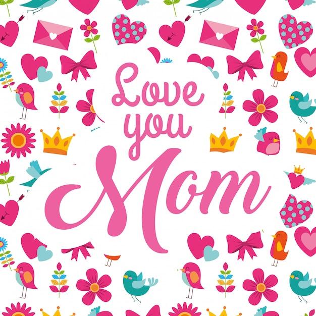 Carta della festa della mamma Vettore Premium