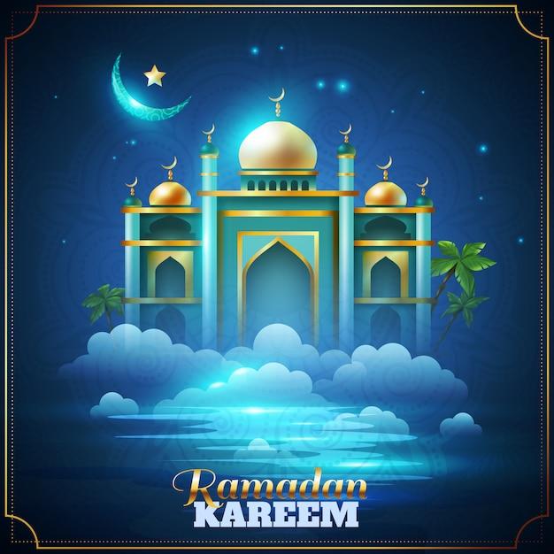 Carta della moschea della notte di ramadan kareem Vettore gratuito