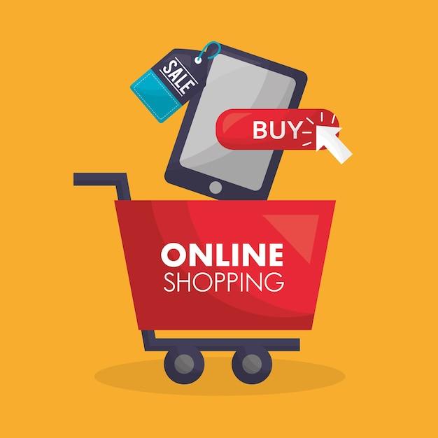 Carta dello shopping online Vettore Premium