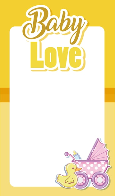 Carta Di Amore Bambino Con Cornice Vuota E Cartoni Animati Carini