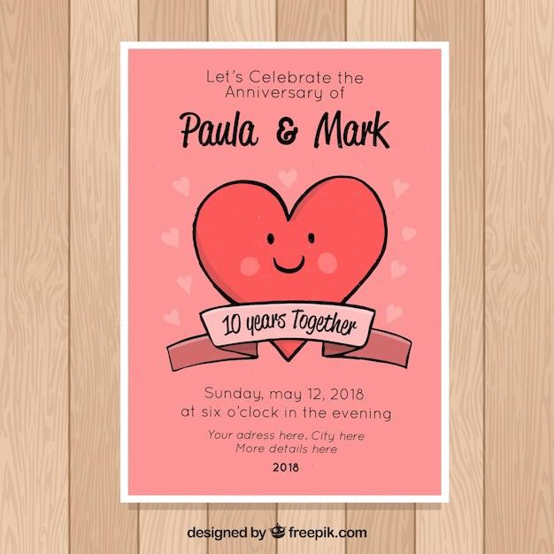 23 Anniversario Di Matrimonio.Carta Di Anniversario Di Matrimonio Con Cuore Carino Vettore Gratis