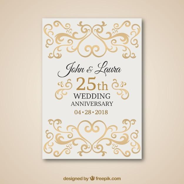 Carta Di Anniversario Di Matrimonio Con Ornamenti D Oro