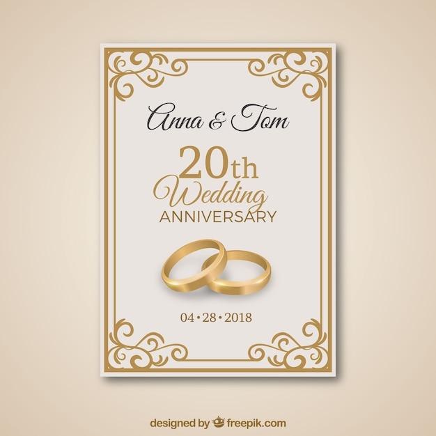 23 Anniversario Di Matrimonio.Carta Di Anniversario Di Matrimonio Con Ornamenti D Oro Vettore