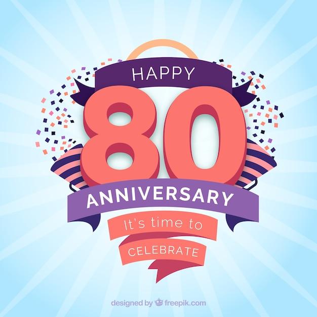 Carta di anniversario felice con nastri e coriandoli Vettore gratuito