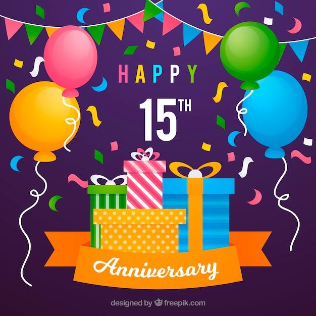 Carta di anniversario felice con palloncini e regali Vettore gratuito