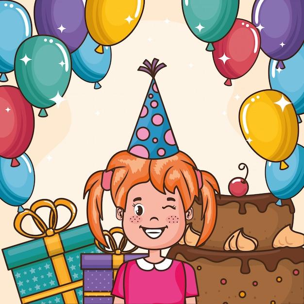 Carta di buon compleanno con bambina Vettore gratuito