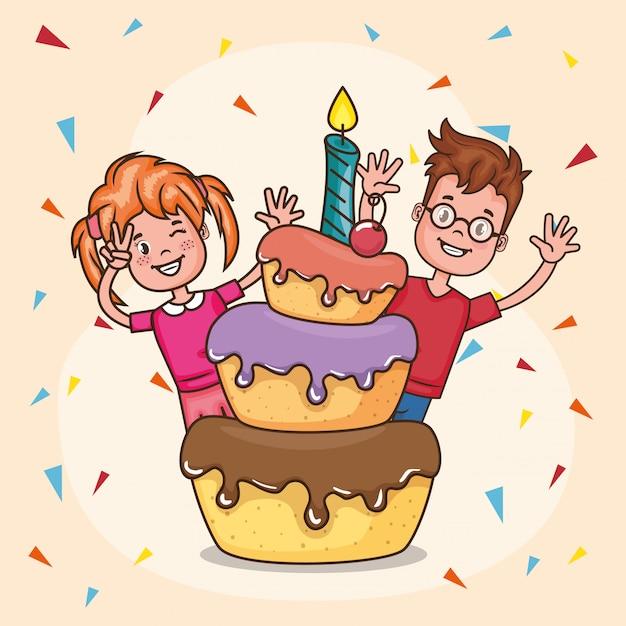 Carta di buon compleanno con bambini piccoli Vettore gratuito