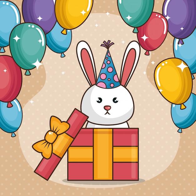 Carta di buon compleanno con coniglietto carino Vettore gratuito