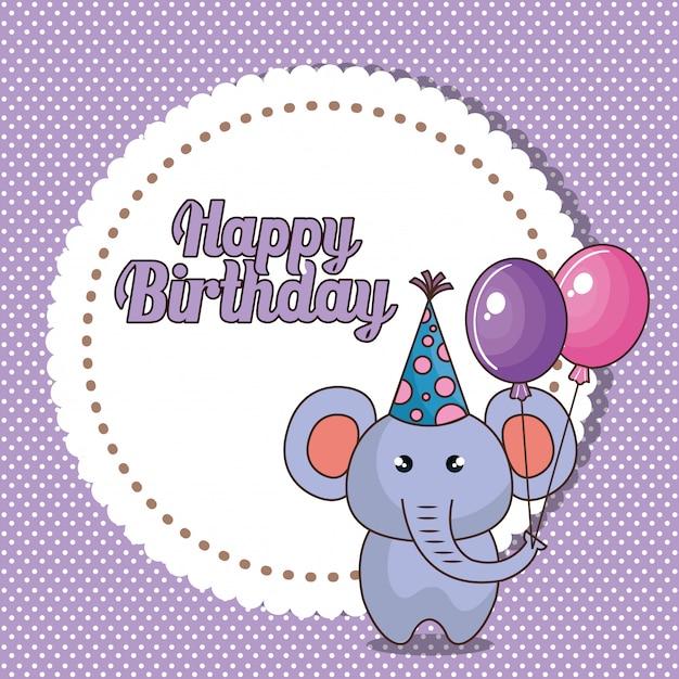 Carta di buon compleanno con elefante carino Vettore gratuito