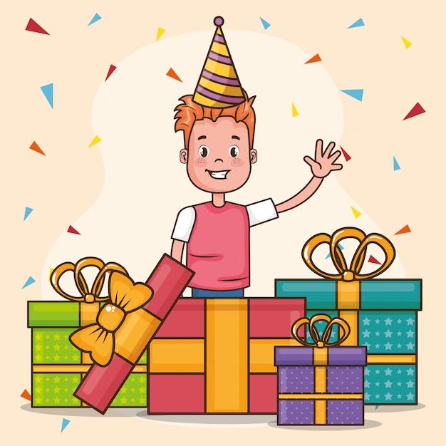 Carta di buon compleanno con un ragazzino Vettore gratuito