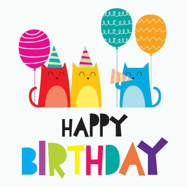 Carta Di Buon Compleanno Per Bambini, Design Colorato
