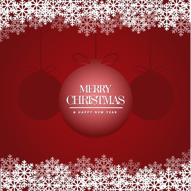 Carta di buon natale e felice anno nuovo con bellissimi fiocchi di neve Vettore Premium