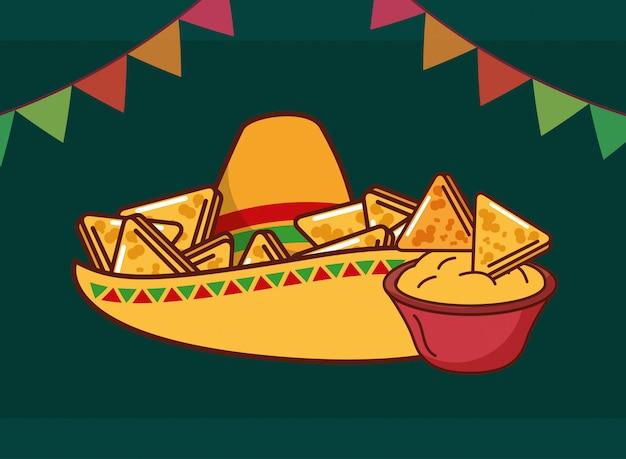 Carta di cibo messicano Vettore Premium