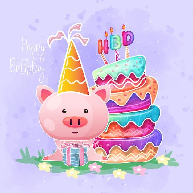 Carta di compleanno con cartone animato carino maiale bambino. Vettore Premium