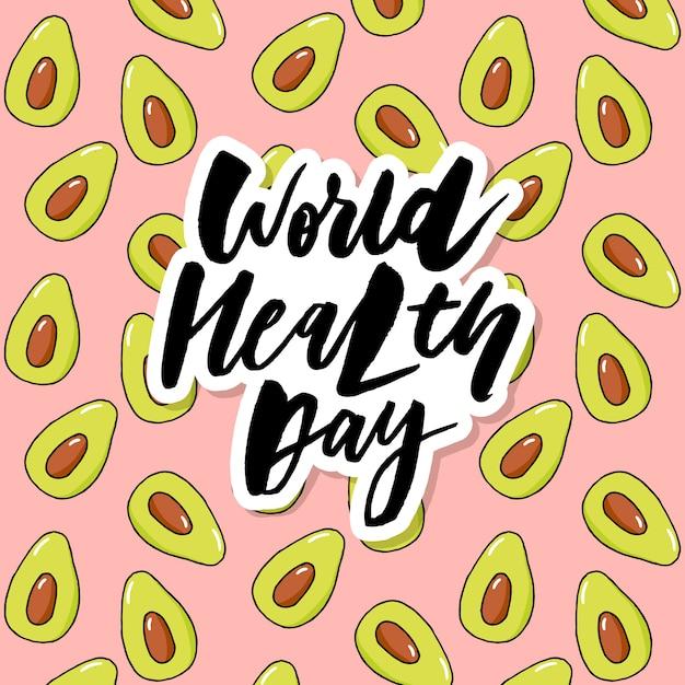 Carta di concetto - frutta di verdure di giornata mondiale della salute Vettore Premium