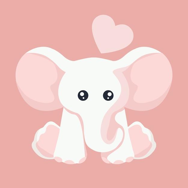 Carta di elefantino per san valentino Vettore Premium