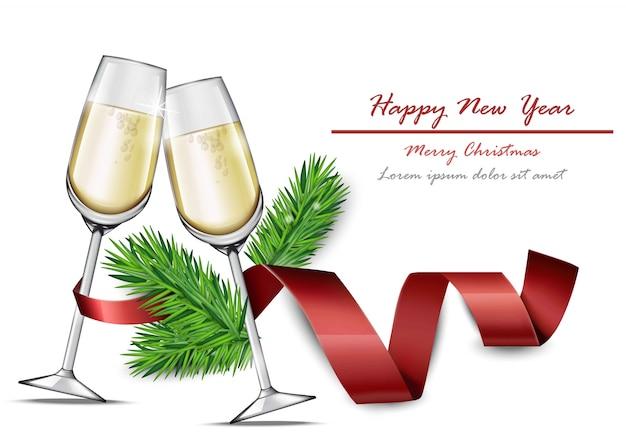 Carta di felice anno nuovo con due bicchieri di champagne ... 0cafec1188a4