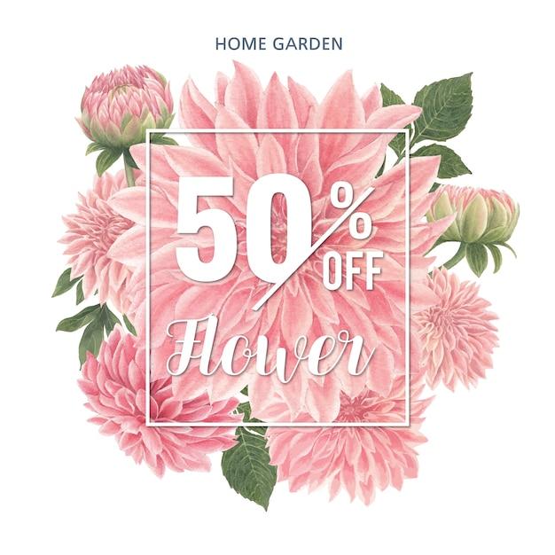Carta di fiori dalia rosa dell'acquerello Vettore gratuito