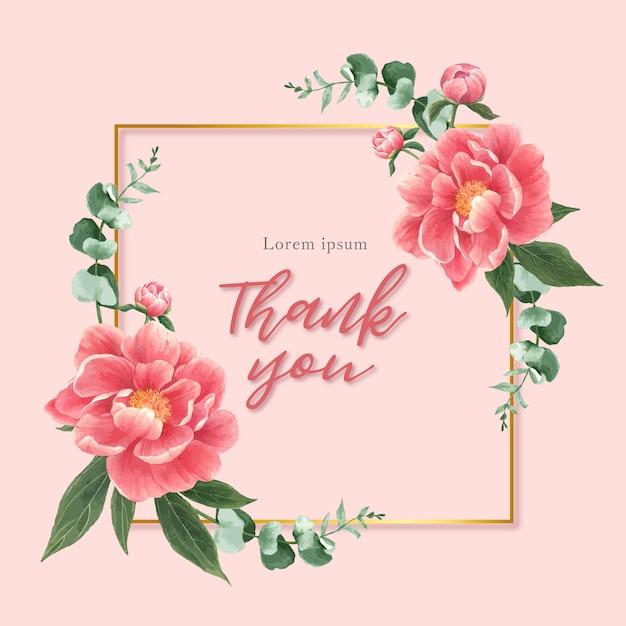 Carta di fiori di peonia dell'acquerello Vettore gratuito