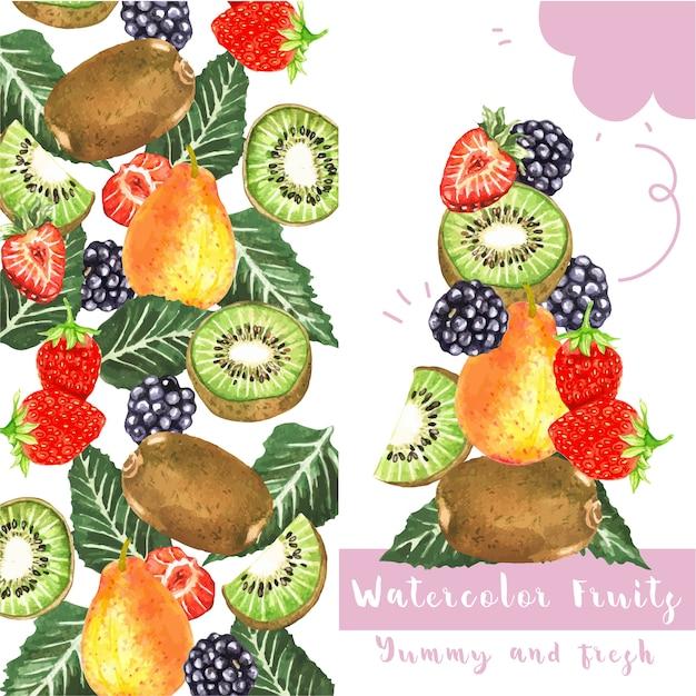 Carta di frutti dell'acquerello Vettore gratuito