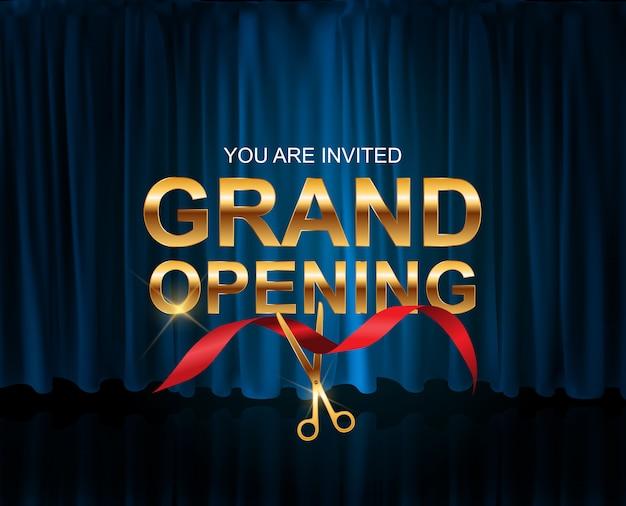 Carta di grande apertura con sfondo a nastro Vettore Premium