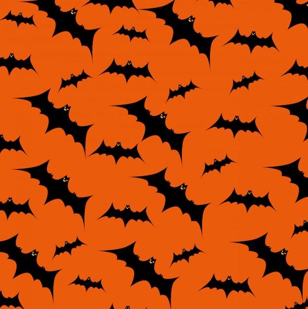 Carta di halloween con pipistrelli modello di volo Vettore gratuito