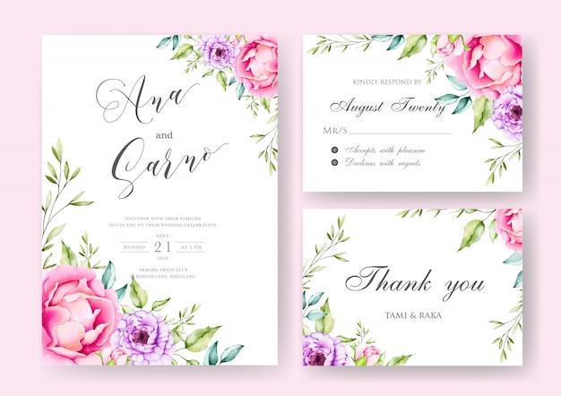 Carta di invito a nozze con foglie e fiori colorati Vettore Premium