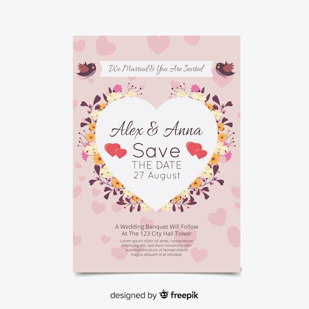 Carta di invito a nozze Vettore gratuito