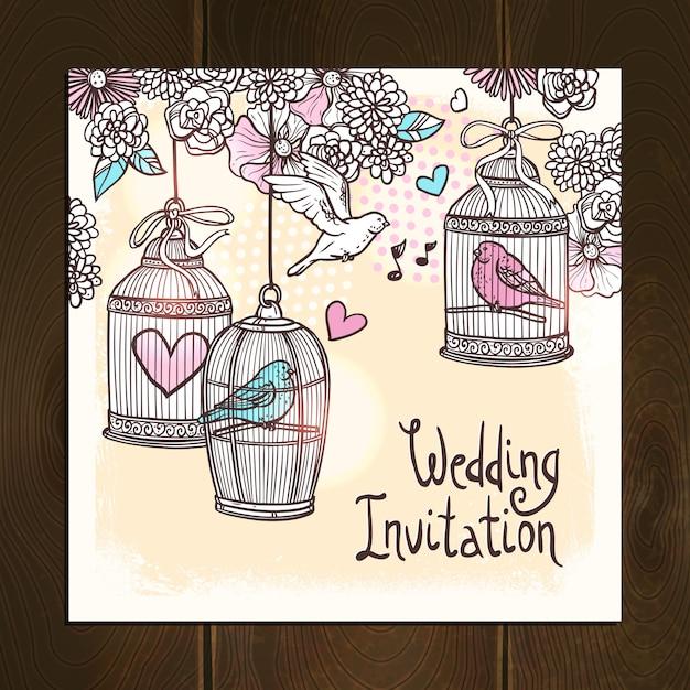 Carta di invito a nozze Vettore Premium