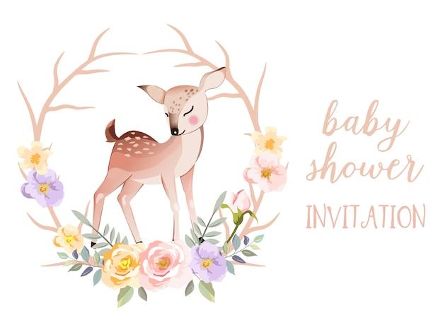 Carta di invito baby shower con illustrazione animale carino Vettore Premium