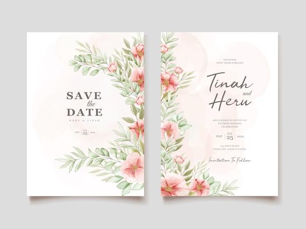 Carta di invito bel matrimonio con ghirlanda floreale Vettore gratuito