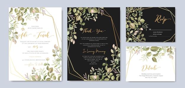 Carta di invito bel matrimonio con modello floreale e foglie Vettore Premium