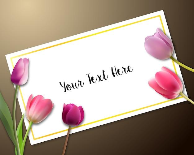 Carta di invito con tulipani Vettore Premium