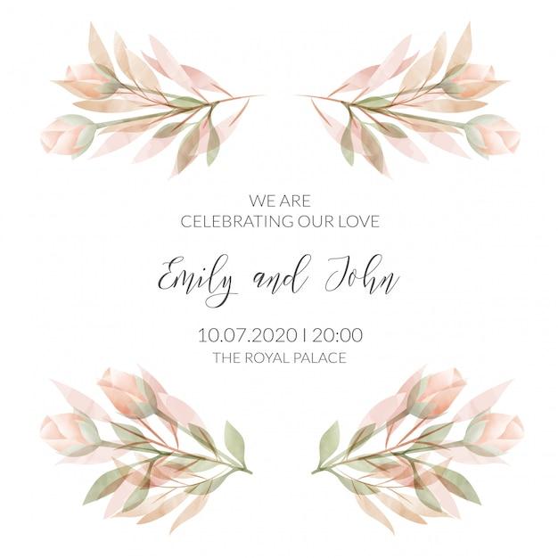 Carta di invito cornice floreale dell'acquerello Vettore Premium