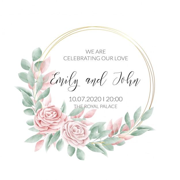 Carta di invito cornice floreale dell'acquerello Vettore gratuito