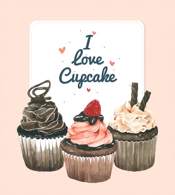 Carta di invito cupcake Vettore Premium