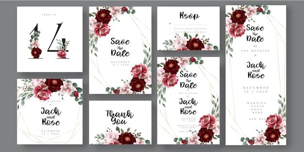 Carta di invito di matrimonio botanico floreale di borgogna e blush Vettore Premium